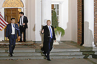 United States President-elect Donald Trump gestures as he departs the clubhouse of Trump International Golf Club, in Bedminster Township, New Jersey, USA, 20 November 2016.<br /> Credit: Peter Foley / Pool via CNP /MediaPunch