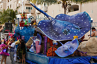 WJ50011-D. Ocean themed float with stingrays, in the Carnival celebration on the island of Cozumel, Mexico.<br /> Photo Copyright © Brandon Cole. All rights reserved worldwide.  www.brandoncole.com