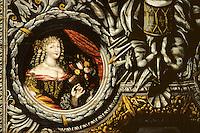15 Cantal/Polminhac: Château de Pesteils - Chambre de la renommée - Plafon peint/Printemps