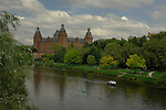 Schloss Johannisburg castle overlooking the River Main and castle gardens. Aschaffenburg, Bavaria, Germany.