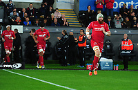 Scarlets' Jake Ball takes to the pitch <br /> <br /> Photographer Ashley Crowden/CameraSport<br /> <br /> Guinness Pro14 Round 6 - Ospreys v Scarlets - Saturday 7th October 2017 - Liberty Stadium - Swansea<br /> <br /> World Copyright &copy; 2017 CameraSport. All rights reserved. 43 Linden Ave. Countesthorpe. Leicester. England. LE8 5PG - Tel: +44 (0) 116 277 4147 - admin@camerasport.com - www.camerasport.com