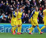 Arsenal's Santi Cazorla celebrates scoring his sides opening goal<br /> <br /> Barclays Premier League - Crystal Palace  vs Arsenal  - Selhurst Park - England - 21st February 2015 - Picture David Klein/Sportimage