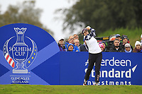 Ally McDonald of Team USA on the 7th tee during Day 2 Foursomes at the Solheim Cup 2019, Gleneagles Golf CLub, Auchterarder, Perthshire, Scotland. 14/09/2019.<br /> Picture Thos Caffrey / Golffile.ie<br /> <br /> All photo usage must carry mandatory copyright credit (© Golffile | Thos Caffrey)