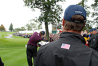 Ryder Cup K Club Straffin Co Kildare...American Ryder Cup Team America..A watchfull eye Chris DiMarco keeps on fellow players on practice day two of the Ryder Cup..Photo: Eoin Clarke/ Newsfile.