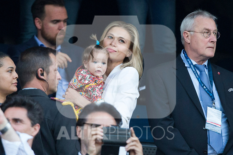 Carla Pereyra, wife of Diego Pablo Cholo Simeone coach of Atletico de Madrid  during the match of  Champions LEague between  Atletico de Madrid and LEicester City Football Club at Vicente Calderon  Stadium  in Madrid, Spain. April 12, 2017. (ALTERPHOTOS / Rodrigo Jimenez)