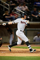 Birmingham Barons third baseman Trey Michalczewski (27) follows through on a swing hits a triple during a game against the Pensacola Blue Wahoos on May 8, 2018 at Regions FIeld in Birmingham, Alabama.  Birmingham defeated Pensacola 5-2.  (Mike Janes/Four Seam Images)