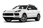 Stock pictures of low aggressive front three quarter view of a 2019 Porsche Cayenne Base 5 Door SUV