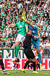 01.09.2019, wohninvest WESERSTADION, Bremen, GER, 1.FBL, Werder Bremen vs FC Augsburg<br /> <br /> DFL REGULATIONS PROHIBIT ANY USE OF PHOTOGRAPHS AS IMAGE SEQUENCES AND/OR QUASI-VIDEO.<br /> <br /> im Bild / picture shows<br /> Niclas Füllkrug / Fuellkrug (Werder Bremen #11) im Duell / im Zweikampf mit Tomáš Koubek / Tomas Koubek (FC Augsburg #21), <br /> <br /> Foto © nordphoto / Ewert