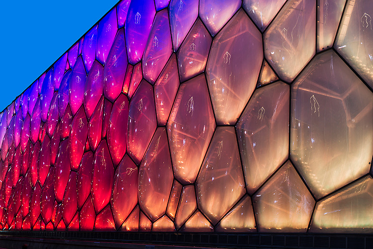 """Beijing National Aquatics Center, Also known as """"The Water Cube""""."""