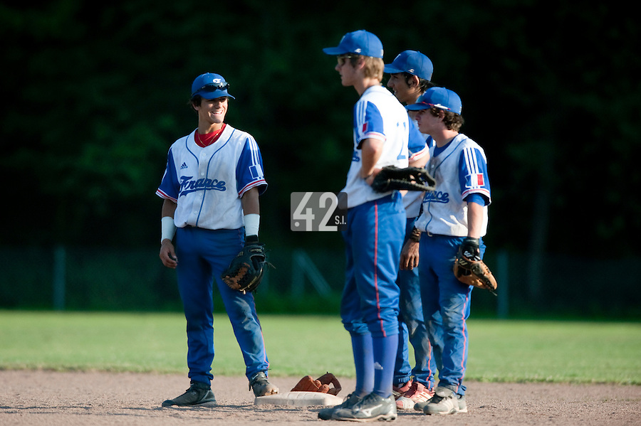 Baseball - 2009 European Championship Juniors (under 18 years old) - Bonn (Germany) - 06/08/2009 - Day 4 - Maxime Lefevre, Simon Vicente, Thomas Medina, Guillaume Lafeuille (France)