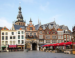 Historic buildings Saint Stephen's church tower, Grote Markt, Nijmegen, Gelderland, Netherlands