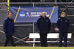16 November 2012: UNC head coach Anson Dorrance (left) with assistants Bill Palladino and Cindy Parlow Cone (right). The University of North Carolina Tar Heels played the University of Illinois Fighting Illini at Fetzer Field in Chapel Hill, North Carolina in a 2012 NCAA Division I Women's Soccer Tournament Second Round game. UNC won the game 9-2.
