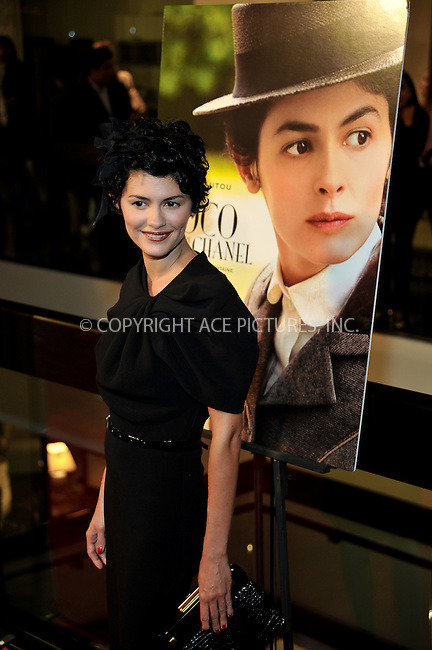 WWW.ACEPIXS.COM . . . . . ....September 9 2009, LA....Actress Audrey Tautou at the premiere of the Sony Pictures movie 'Coco Before Chanel' at the Silver Screen theatre in Los Angeles on September 9 2009.....Please byline: JOE WEST- ACEPIXS.COM.. . . . . . ..Ace Pictures, Inc:  ..(646) 769 0430..e-mail: info@acepixs.com..web: http://www.acepixs.com