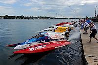 26  July, 2009, Trenton, Michigan USA.Jay Fox (#19) leads Kris Shepard (#46) and Jimmie Merleau (#69) off the dock..©2009 F.Peirce Williams USA.SST-120 class