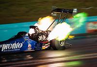 Oct 5, 2018; Ennis, TX, USA; NHRA top fuel driver Blake Alexander during qualifying for the Fall Nationals at the Texas Motorplex. Mandatory Credit: Mark J. Rebilas-USA TODAY Sports