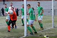 HAREN - Voetbal, Be Quick - HSC 21, derde divisie zondag, seizoen 2017-2018, 05-11-2017,   doelman Jeffrey Brammer ziet de bal net naast vliegen na inzet Twan Nieboer