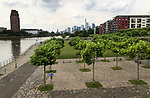 Germany-Frankfurt/Main - June 16, 2018 -- Newly created residential areas on the banks of river Main, East End (Ostend); with the financial district in the back -- Photo © HorstWagner.eu