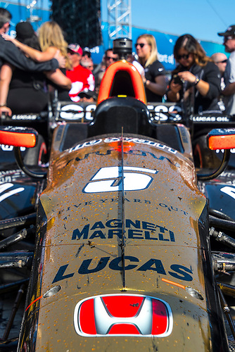 2017 Verizon IndyCar Series<br /> Toyota Grand Prix of Long Beach<br /> Streets of Long Beach, CA USA<br /> Sunday 9 April 2017<br /> The #5 Honda of James Hinchcliffe in victory lane covered in champagne<br /> World Copyright: Gavin Baker/LAT Images
