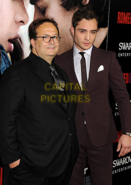 Carlo Carlei, Ed Westwick<br /> &quot;Romeo &amp; Juliet&quot; Los Angeles Premiere held at Arclight Cinemas, Hollywood, California, USA.<br /> September 24th, 2013<br /> half length black suit brown glasses tie<br /> CAP/ADM/BP<br /> &copy;Byron Purvis/AdMedia/Capital Pictures