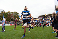 Zach Mercer and the rest of the Bath Rugby team run out onto the field. Aviva Premiership match, between Bath Rugby and Worcester Warriors on October 7, 2017 at the Recreation Ground in Bath, England. Photo by: Patrick Khachfe / Onside Images