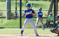 Los Angeles Dodgers outfielder James Outman (5) at bat during an Instructional League game against the Oakland Athletics at Camelback Ranch on September 27, 2018 in Glendale, Arizona. (Zachary Lucy/Four Seam Images)