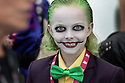 Christian Ganiere, 8, plays the part of The Joker from the Batman series at Comic-2017 in San Diego, California, July 20, 2017.