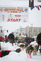 Pat Moon leaves the 2011 Iditarod ceremonial start line in downtown Anchorage, during the 2012 Iditarod..Jim R. Kohl/Iditarodphotos.com