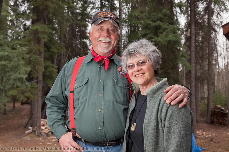 Portrait of pilot Art Mortvedt and his wife, Manley Hot Springs, Alaska