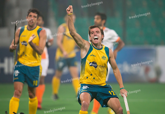 Mens Hockey World league Final Delhi 2014<br /> Day 4, 15-01-2014<br /> Australia v India<br /> jacob Whetton<br /> Photo: Grant Treeby / treebyimages