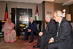 Palestinian President Mahmoud Abbas meets with Bangladesh Prime Minister Hasina Wajid, in New York City, U.S. September 18, 2017. Photo by Osama Falah