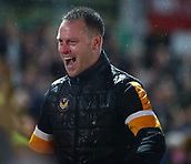 5th February 2019, Rodney Parade, Newport, Wales; FA Cup football, 4th round replay, Newport County versus Middlesbrough; Michael Flynn, Manager of Newport County celebrates the 2-0 win and progression to the 5th round