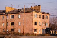 Russia, Sakhalin, Nogliki. Old building from the train Nogliki-Yuzhno-Sakhalinsk.