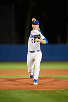 Florida Gators starting pitcher Brady Singer (51) delivers a pitch during a game against the Siena Saints on February 16, 2018 at Alfred A. McKethan Stadium in Gainesville, Florida.  Florida defeated Siena 7-1.  (Mike Janes/Four Seam Images)