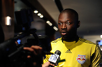New York Red Bulls goalkeeper Bouna Coundoul (18) is interviewed on Media Day at Red Bull Arena in Harrison, NJ, on March 15, 2011.