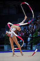Silviya Miteva of Bulgaria performs in ribbon Event Finals at 2010 World Cup at Portimao, Portugal on March 14, 2010.  (Photo by Tom Theobald).