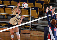 Florida International University women's volleyball player Jovana Bjelica (16) plays against the University of South Alabama.  FIU won the match 3-0 on October 30, 2011 at Miami, Florida. .