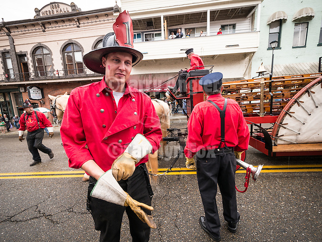 A historical reenactment of firemen's rescue of soiled doves concludes the Days of '49 wagon train parade on Jackson, California's Main Street.<br /> <br /> Diamond Jubilee commemoration of the founding of Amador County in 1854
