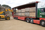 Potatoes in crates loaded on lorry Shottisham Suffolk England