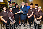 Managements and Staff of Burger Shack,Brendan's Park,Tralee who surprised Paddy Brosnan with a birthday cake as Paddy celebrated his 90th L-r: Dorota Gradowska,Geraldine Griffin,Graham and Aileen Riordan, Paddy Brosnan (Birthday)Paul Riordan,Marie Cunninhham,Shane Riordan and Mary Doyle