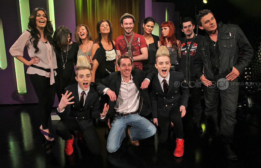 10/02/'11 Ryan Tubridy pictured this afternoon at RTE Studios with the five acts which make up this years hopefulls for Ireland's entry to the Eurosong 2011 Contest. The five acts will perform on tomorrow night's Late Late show ..Picture Colin Keegan, Collins, Dublin.