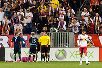 Juninho (8) of the New York Red Bulls walks off the field after being red carded during the second half against Sporting Kansas City. Sporting Kansas City defeated the New York Red Bulls 1-0 during a Major League Soccer (MLS) match at Red Bull Arena in Harrison, NJ, on April 17, 2013.