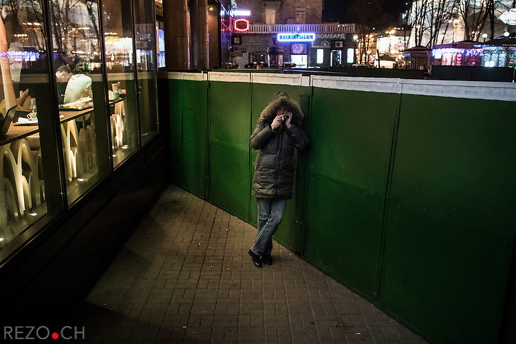Kiev, Ukraine - 03 december 2013: Atmosphere near Mc Donald's restaurant on Khretchatyk boulevard. Credit: Niels Ackermann / Rezo.ch