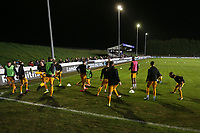 Newport players warm up during Maldon & Tiptree vs Newport County, Emirates FA Cup Football at the Wallace Binder Ground on 29th November 2019