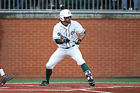 Drew Ober (18) of the Charlotte 49ers squares to bunt against the Arkansas Razorbacks at Hayes Stadium on March 21, 2018 in Charlotte, North Carolina.  The 49ers defeated the Razorbacks 6-3.  (Brian Westerholt/Four Seam Images)