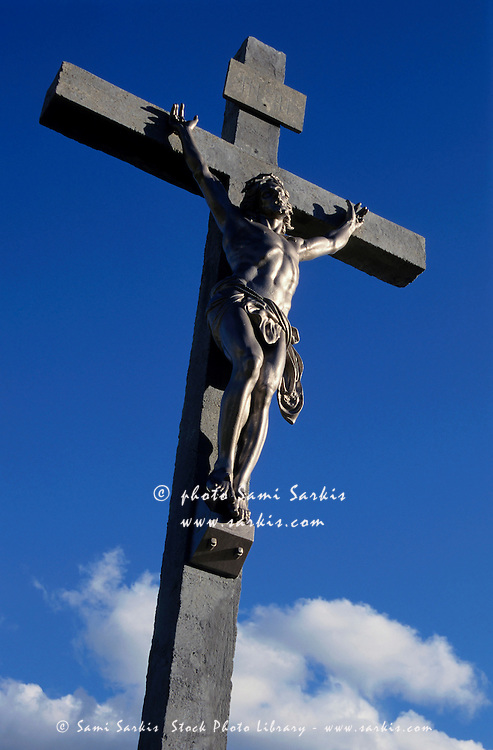 Statue of Jesus Christ on the cross, Roquevaire, Bouches-du-Rhone, France.