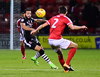 Lincoln City's Nathan Arnold vies for possession with Crewe Alexandra's Perry Ng<br /> <br /> Photographer Andrew Vaughan/CameraSport<br /> <br /> The EFL Sky Bet League Two - Crewe Alexandra v Lincoln City - Saturday 11th November 2017 - Alexandra Stadium - Crewe<br /> <br /> World Copyright &copy; 2017 CameraSport. All rights reserved. 43 Linden Ave. Countesthorpe. Leicester. England. LE8 5PG - Tel: +44 (0) 116 277 4147 - admin@camerasport.com - www.camerasport.com