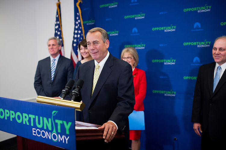 UNITED STATES - MARCH 24: Speaker John Boehner, R-Ohio, conducts a news conference in the Capitol after a meeting of the House Republican Conference, March 24, 2015. Also attending from left are House Majority Leader Kevin McCarthy, R-Calif., Conference Chairwoman Cathy McMorris Rodgers, R-Wash., Diane Black, R-Tenn., and Majority Whip Steve Scalise, R-La. (Photo By Tom Williams/CQ Roll Call)