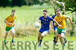 In Action ballymac's Micheal Reidy Reidy and Guilla's captain Padraig O'Connor in the Credit Union senior Football League Division 3 Round 9 against Ballymacelligott at Ballymac GAA Grounds on Sunday