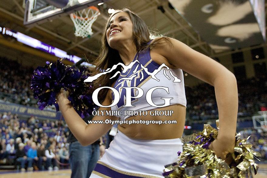 Feb 16, 2013:  Washington cheerleader Leilani Borst entertained the fans during a timeout against Oregon State. Washington defeated Oregon State 72-62 at Alaska Airlines Arena Seattle, Washington...