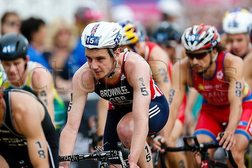31.05.2014.  London, England.  Alistair BROWNLEE (GBR, 15) positioned at the front of the lead pack during the bike leg of the ITU World Triathlon Elite Men's race being held in Hyde Park.